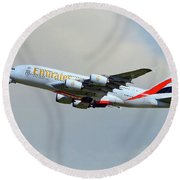 Emirates Airbus A380-861 Round Beach Towel