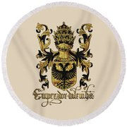 Emperor Of Germany Coat Of Arms - Livro Do Armeiro-mor Round Beach Towel by Serge Averbukh