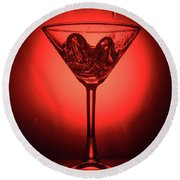 Empty Cocktail Glass On Red Background Round Beach Towel