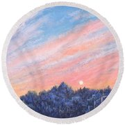 enchanced Catching the Sunset  Round Beach Towel