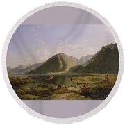 End Of Lake Geneva Round Beach Towel