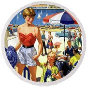 England Weston Super Mare Vintage Travel Poster Round Beach Towel