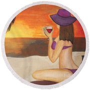 Enjoy The Beach Round Beach Towel