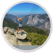 Enjoying At Yosemite Summit Round Beach Towel