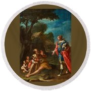 Erminia Among The Shepherds Round Beach Towel