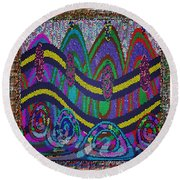 Ethnic Wedding Decorations Abstract Usring Fabrics Ribbons Graphic Elements Round Beach Towel