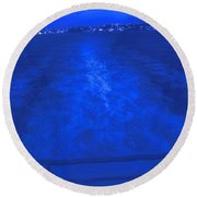 Evening Fast Ferry Round Beach Towel