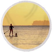 Evening Paddle Round Beach Towel by David Buhler