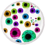 Eyes Watching You Round Beach Towel