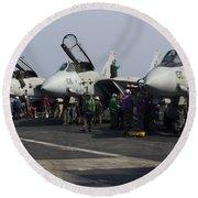 F-14d Tomcats On The Flight Deck Of Uss Round Beach Towel