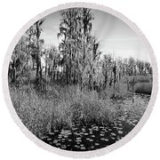 Faces Of The Swamp, No. 7 Round Beach Towel