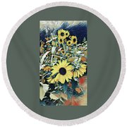 Fall Flowers  Round Beach Towel