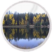 Potty Pond Reflection - Fall Colors Divide Co Round Beach Towel