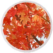 Fall Trees Colorful Autumn Leaves Art Baslee Troutman Round Beach Towel