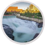 Falls And The Washington Water Power Building Along The Spokane  Round Beach Towel
