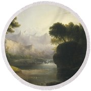 Fanciful Landscape Round Beach Towel