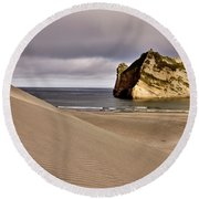 Farewell Spit New Zealand Round Beach Towel
