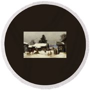 Farm In The Dales Round Beach Towel