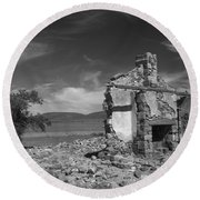 Farmhouse Cottage Ruin Flinders Ranges South Australia Round Beach Towel