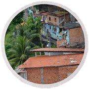 Favela In Salvador Da Bahia Brazil Round Beach Towel