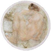 Female Nude Round Beach Towel