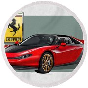 Ferrari Sergio With 3d Badge  Round Beach Towel by Serge Averbukh