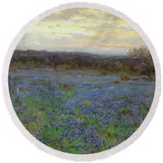 Field Of Bluebonnets At Sunset Round Beach Towel