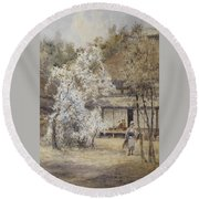 Figure In A Japanese Landscape Round Beach Towel