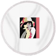 Film Homage Louise Brooks In Flapper Hat 1927-2013 Round Beach Towel