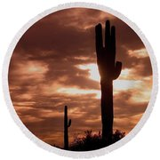 Film Homage Orson Welles Saguaro Cacti The Other Side Of The Wind Carefree Arizona 2004 Round Beach Towel