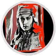 Film Homage Rudolph Valentino The Shiek 1921 Collage Color Added 2008 Round Beach Towel