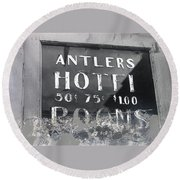 Film Noir Ray Teal Anthony Caruso Scene Of The Crime 1949 Antlers Hotel Victor Colorado 1971-2013 Round Beach Towel