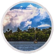 Finding Safe Harbor Round Beach Towel