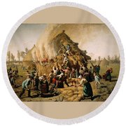 Fire In A Haystack Round Beach Towel