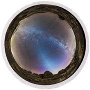 Fish-eye Panorama Of Milky Way Round Beach Towel