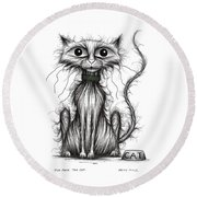 Fish Face The Cat Round Beach Towel