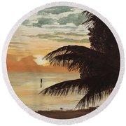 Fisherman At Sunrise Round Beach Towel