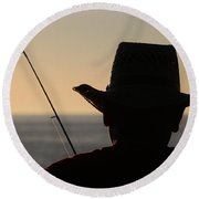 Silhouette Of A Fisherman Round Beach Towel