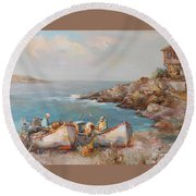 Fishermen With Boats Round Beach Towel