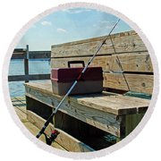 Fishin' Pole Round Beach Towel