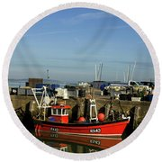Fishing Boats At Whitstable Harbour 02 Round Beach Towel