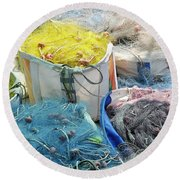 Fishing Industry In Limmasol Round Beach Towel