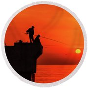 Morning Fishing 1 Round Beach Towel