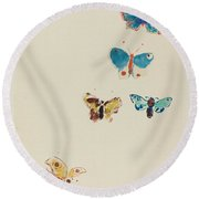 Five Butterflies Round Beach Towel