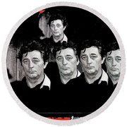 Five Robert Mitchum's Young Billy Young Set Old Tucson Arizona 1968-2012 Round Beach Towel