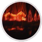 Flaming Houses Lights Water Reflection Christmas Arizona City Arizona 2005 Round Beach Towel