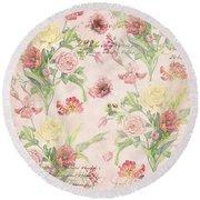 Fleurs De Pivoine - Watercolor W Butterflies In A French Vintage Wallpaper Style Round Beach Towel