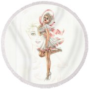 Flirtation In The Breeze Round Beach Towel