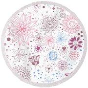 Floral Doodles Round Beach Towel