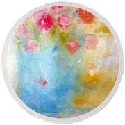 Floral Reflections Round Beach Towel